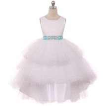 White Satin Bodice Hi-Low Layer Tulle Skirt Rhinestone Turquoise Sash Gi... - $89.95+