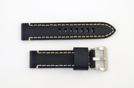 22mm black genuine leather watch band strap heavy duty fit Luminox white... - $37.85