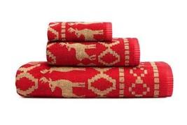 2 Eddie Bauer Fair Isle Crimson Red REINDEER & TREES Jacquard Bath Towel... - $39.99