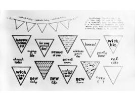Whimsy Stamps Celebration Pennants Rubber Stamps #10229