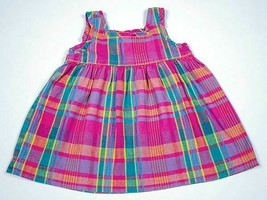 HANNA ANDERSSON VTG BABY GIRLS PINK PLAID DRESS SIZE 70 CM US 6-12 MONTH... - $9.89