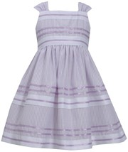 Bonnie Jean Little Girl 4-6X Lavender-Purple Metallic Pencil Stripe Dress