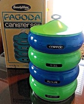 New LINCOLN BEAUTYWARE Pagoda STACKABLE TIN CANISTER SET Blue Green - $273.78