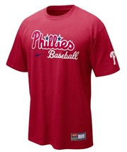 New Mens Red Nike Philadelphia Phillies MLB Practice Cotton T-shirt Tee ... - $19.99