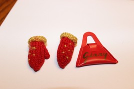 Vintage Ginny Doll Accessory Triangle Red Purse and mittens - $29.95
