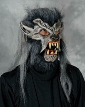 Werewolf Mask Night Crawler Movable Mouth Hair Fur Trim Halloween Costum... - $91.46 CAD