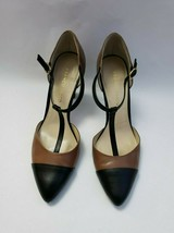 Franco Sarto Shoes Heels Brown Black T-Strap Tanda Womens Size 8.5 M image 2