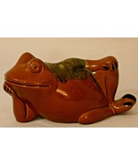 Frog Bank Ceramic Japan Red Drip Glaze 1960s Vintage with Stopper Red Brown - $24.99