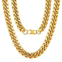 18K Gold Chain Necklace Stainless Steel Solid Heavy Thick Bold Necklace ... - $33.41