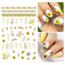 Nail Art 3D Extra-Thin Nail Stickers Yellow Sunflower Red Flowers R301 - $3.19
