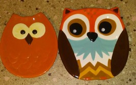 Lot of 2 Ceramic Owl Shaped Plates Candy Dish Trinkets - $19.69