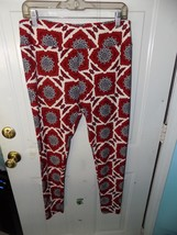 LuLaRoe Blue Flower w/Red and White Leggings Size Tall and Curvy Women's NWOT - $24.92
