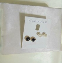 Charter Club Gold-Tone 2-Pc. Set Black/ Kiska Pearl Stud Earrings H890 $29 - $10.61