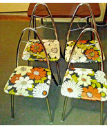 4 Vintage Child Metal Chairs Mid Century Modern Chrome Flower Vinyl Padded - $158.39