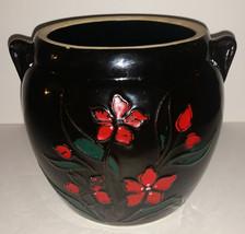 Vintage Floral Cookie Jar Base Only 7in Black Red Raised Flower Canister... - $19.99