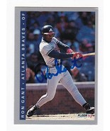 RON GANT AUTOGRAPHED CARD 1993 FLEER ATLANTA BRAVES - $4.48