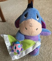 "10"" Disney Winnie Pooh EEYORE Baby Plush Rattle Lady Bug Security Blanket Lovey - $18.80"