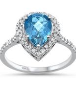 2.28cts 10k White Gold Pear Shape Blue Topaz & Diamond Ring  - $440.27