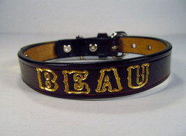 Personalized Dog Collar Dark Brown Leather 3/4 inch wide - $13.95