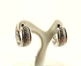 Vintage Textured Design Hoop Huggie Earrings 925 STERLING ER 1264 - $14.99