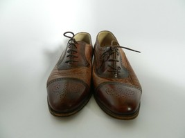 Johnston & Murphy Domani Brown Oxford Shoes Size 10M Made in Italy  - $33.99