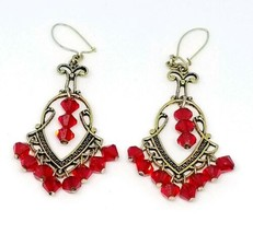 Red Glass Crystal Gold Tone Art Nouveau Style Dangle Earrings - $19.79