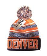 Denver Men's Blended Stripe Winter Knit Pom Beanie Hat (Navy/Orange) - $13.75