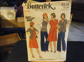 Butterick 4132 Unlined Jacket, Dress, Top & Pants Pattern - Size 16 Bust 38 - $7.34