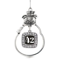 Inspired Silver Number 42 Classic Snowman Holiday Decoration Christmas Tree Orna - $14.69