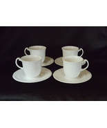 Royal Doulton PROFILE White English Bone China Embossed Cups & Saucers ~... - $28.00