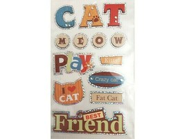 Dimensional, Foiled Backed, Cat Stickers, Set of 11