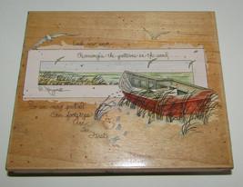 Boat Scene Rubber Stamp Each New Wave Rearranges Patterns in Sand Footsteps - $14.54