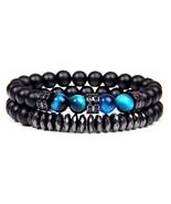 Trendy 2pcs\set CZ Zircon Men Bracelet 8mm Tiger Eye Beads Bracelet with... - $20.23