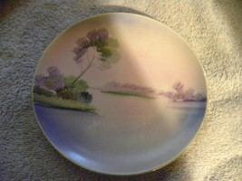 """Handpainted made in China Japanese small 6"""" plate, tree water lavender g... - $7.35"""