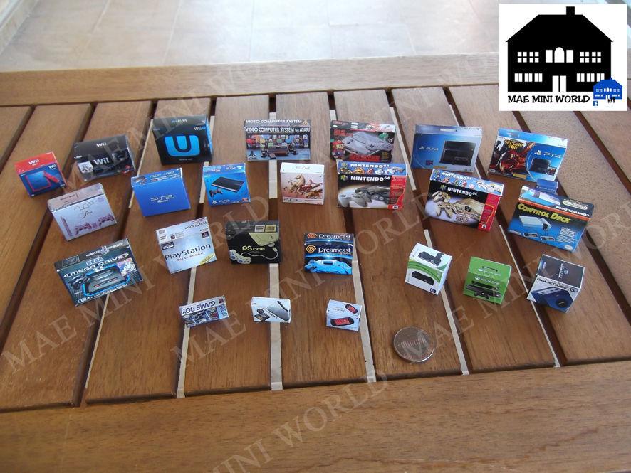Video game consoles box miniature, Sony, Sega, Nintendo, Atari, NEO. Scale 1/12 for sale  USA
