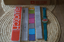Original Vintage Swatch Watch Color The Sky GS124 Box Papers Excellent Condition - $46.39
