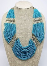 Magnificent Turquoise Glass Seed Bead Necklace Banana Republic $69 Tags ... - $28.70