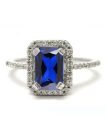 10k White Gold Plated 925 Silver Rectangular Shape Blue Sapphire Engagem... - $84.99