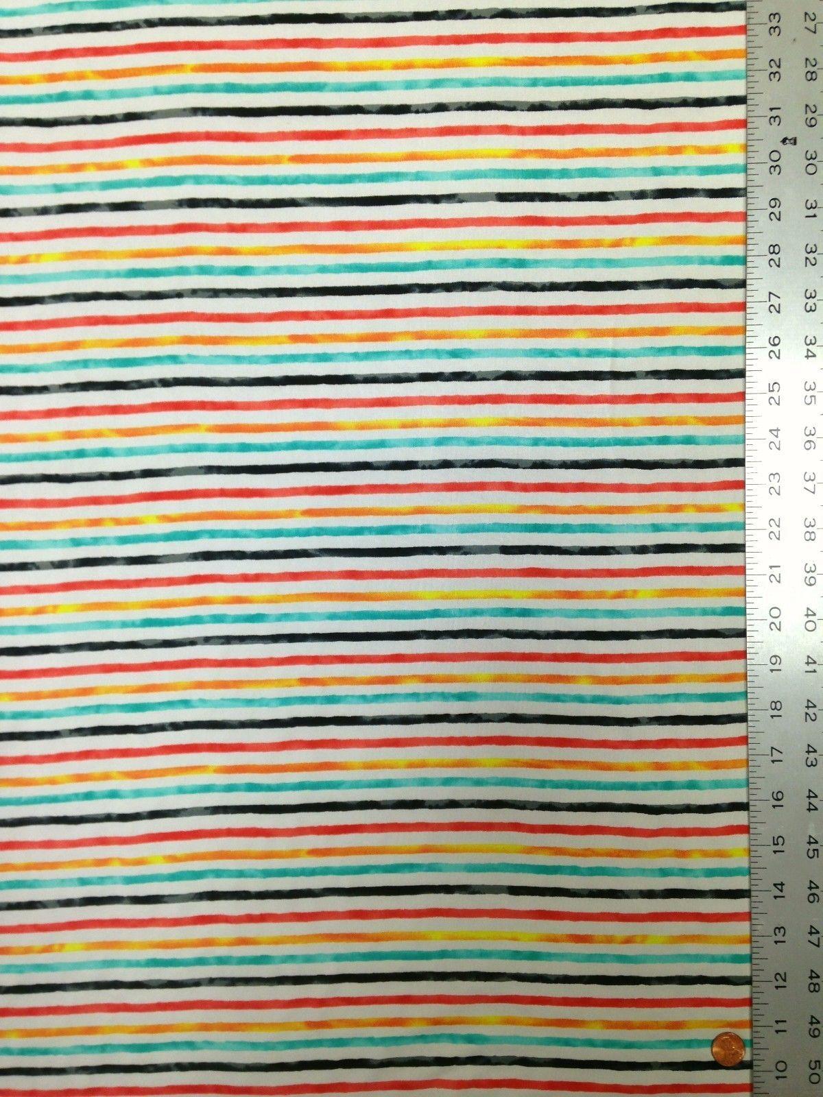 Multi-Color Striped Pattern on Stretch Knit Jersey Polyester Spandex Fabric