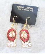 Fantastic Genuine Cloisonne Enamel White & Red Leo Lion Earrings 1970s v... - $14.80