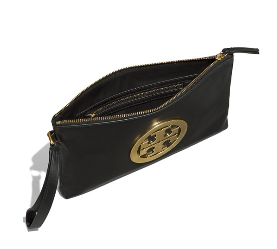 Tory Burch Charlie Clutch Bag for Women Black Color Free Gift Free Shipping