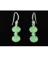 Sterling Silver Earrings_Glass and Peridot Crystals - $10.00