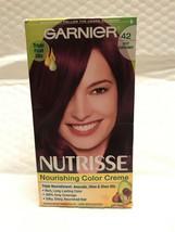 Garnier Nutrisse Hair Color #42 Deep Burgundy Triple Oils Avocado Olive ... - $9.79