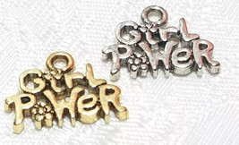 GIRL POWER W/ FLOWER FINE PEWTER PENDANT CHARM - 16x12x2mm