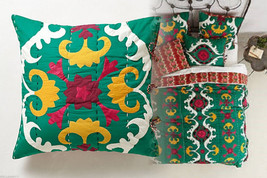 Anthropologie Dalian Euro Shams 2 Green Yellow Red Hand-embroidered Cott... - $98.00