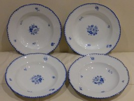 "4 ANTIQUE BOHEMIA POTTERY SOUP OR SALAD PLATES 9 1/4"" WIDE - $149.00"