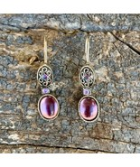 VINTAGE AVON Purple Amethyst Cabochon Earrings - Pierced - Silver Plated... - $19.79