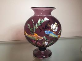 Harrach antique glass vase aquatic fish applied enamel - $550.00
