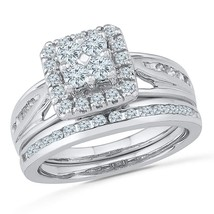 14kt White Gold Round Diamond Bridal Wedding Engagement Ring Band Set 1.00 Ctw - £1,019.16 GBP