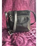 Vintage Fossil 1954 Black Leather Crossbody / Shoulder / Messenger Bag, ... - $44.10